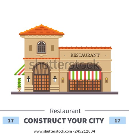 Restaurant building. Italian pizza and pasta . Food delivery. Set of elements for construction of urban and village landscapes. Vector flat illustration - stock vector
