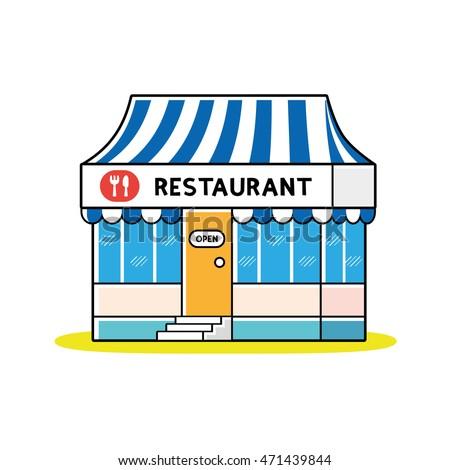 Restaurant building clipart  Meat Shop Building Restaurant Design Vector Stock Vector 567939898 ...