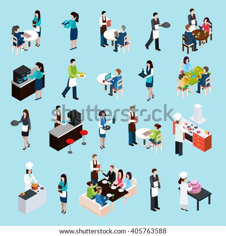 Restaurant cafe bar personnel and customers isometric icons set with waiters attending tables abstract isolated vector illustration - stock vector