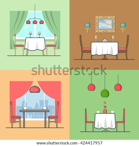 Restaurant Cafe Condo Accommodation Dining Room Cosy Modern Interior Indoor Set Linear Stroke Outline Flat