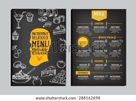 Restaurant Cafe Menu Template Design Food Stock Vector 296297135