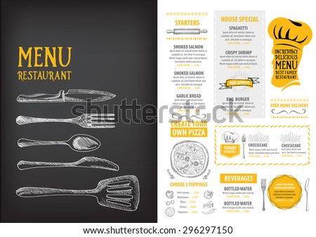 Restaurant Cafe Menu Template Design Food Stock Vector 291230066