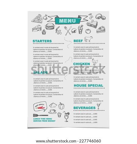 Restaurant cafe menu, template design.Vector illustration. - stock vector