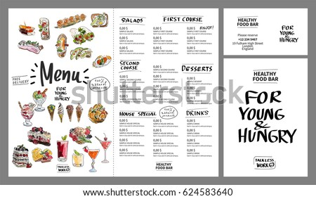 Restaurant Cafe Menu Template Design Watercolor Stock Vector
