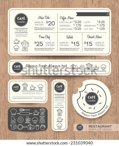 Restaurant Cafe Set Menu Graphic Design Template layout - stock vector