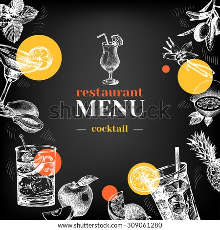 Restaurant chalkboard menu. Hand drawn sketch cocktails and fruits vector illustration - stock vector