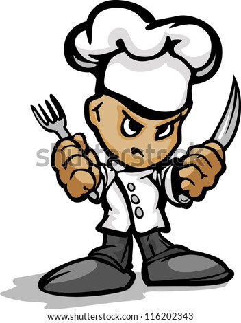 Restaurant Chef or Cook Mascot with Determined Face Wearing Chefs Hat and Holding Cooking Utensils Cartoon Vector Image