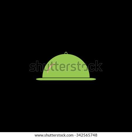Restaurant cloche. Color vector icon on black background - stock vector