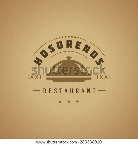 Restaurant Cloche Design Element in Vintage Style for Logotype, Label, Badge and other design. Tray retro vector illustration. - stock vector