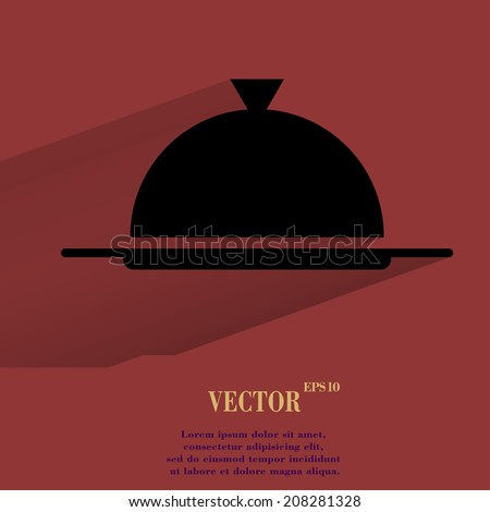 Restaurant cloche. Flat modern web button with long shadow and space for your text. Vector. EPS10 - stock vector