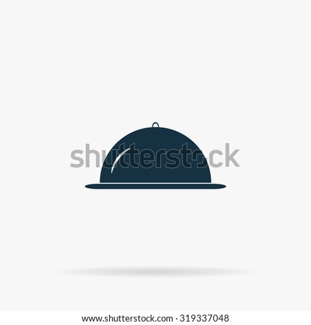 Restaurant cloche. Flat vector web icon or sign on grey background with shadow. Collection modern trend concept design style illustration symbol - stock vector
