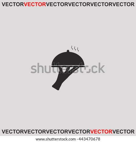 Restaurant cloche in hand the waiter icon. Grey image on grey background. Web icon. - stock vector