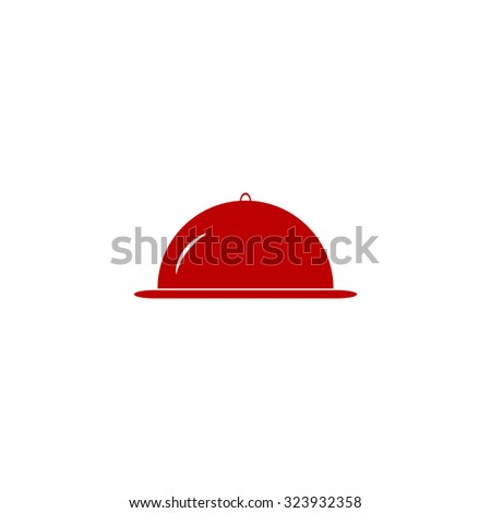 Restaurant cloche. Red flat icon. Vector illustration symbol - stock vector