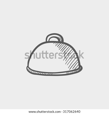 Restaurant cloche sketch icon for web, mobile and infographics. Hand drawn vector dark grey icon isolated on light grey background. - stock vector