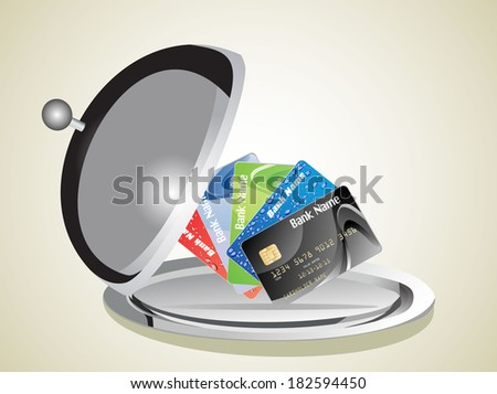 Restaurant cloche with open lid and Credit Card