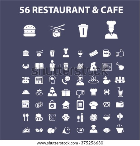 Restaurant concept icons: hotel services, menu, dining, pizza, bill, beer, cafe, fast food, cafeteria, beverage, hot dog, bbq, cooking, pub. Vector illustration  - stock vector