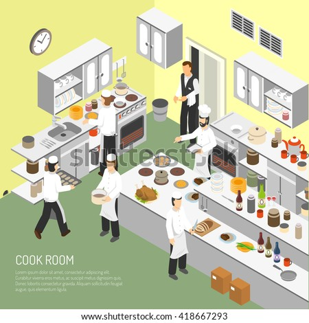 Restaurant cooking room with chefs commercial equipment for frying and baking dishes isometric poster abstract vector illustration  - stock vector