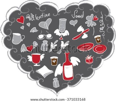 Restaurant Design In Form Of Heart, Vector Illustration - stock vector
