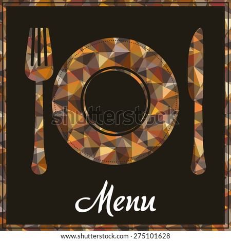 Restaurant design over brown background, vector illustration. - stock vector