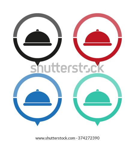 Restaurant dish - vector icon; map pointer;  message bubble - stock vector