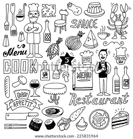 Restaurant doodle set 2. Hand drawn. Vector illustration. - stock vector