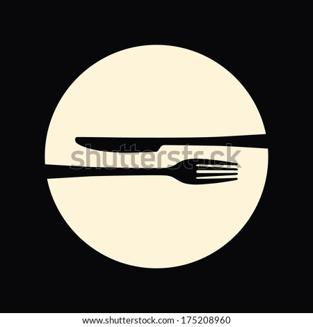 Restaurant emblem. Fork and knife. - stock vector