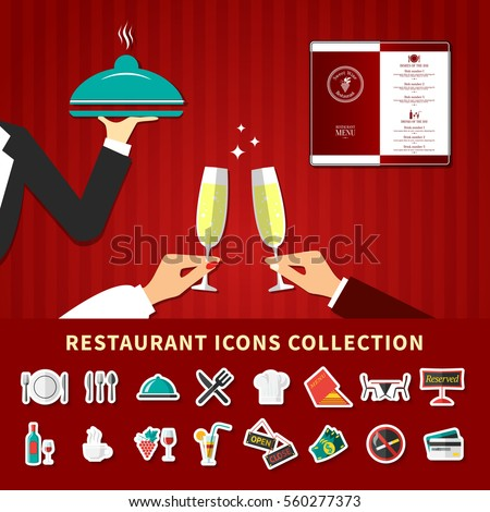 Restaurant emoji icons collection background with flat cartoon images of waiter hands champagne glass and menu vector illustration