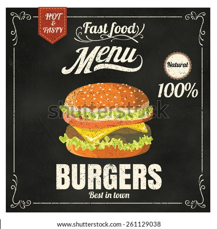 Restaurant Fast Foods menu burger on chalkboard vector format eps10 - stock vector