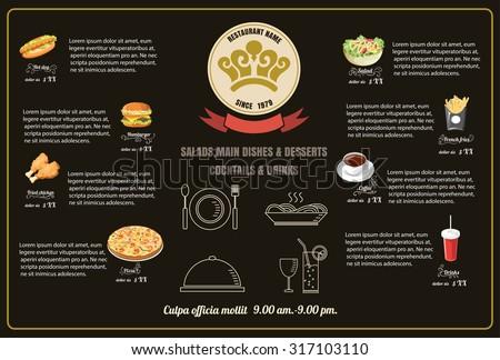 Restaurant Fast Foods menu on brown background vector format eps10 - stock vector