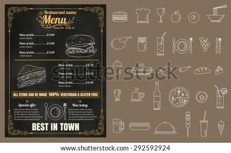 Restaurant Fast Foods menu on chalkboard vector format eps10 - stock vector