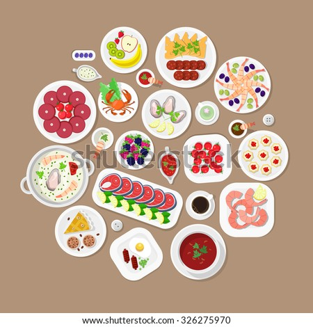 Restaurant flat style design vector graphic top view elements set. Lobster Fish steak Shrimps Oysters Caviar Soup Sausage Meat food Desert Cake Plates Soy sauce icon illustrations collection. - stock vector