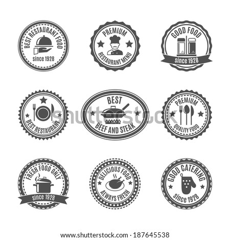 Restaurant food and cooking labels set with cooking symbols isolated vector illustration - stock vector