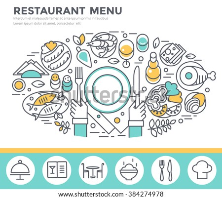 Restaurant food concept illustration, thin line flat design - stock vector