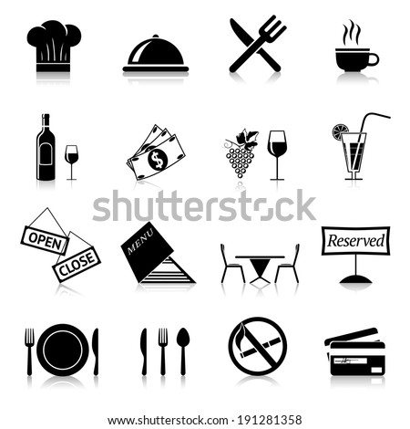 Restaurant food cooking and serving black and white icons set isolated vector illustration - stock vector