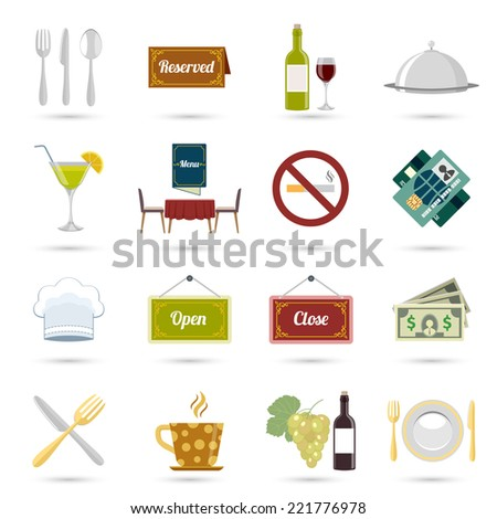Restaurant food cooking and serving icons set isolated vector illustration - stock vector