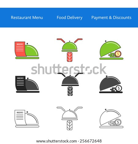 restaurant food delivery service icons. concept of online cafe, payment, discounts, courier, dining, meal serving. isolated on white background. flat style modern logotype design vector illustration - stock vector