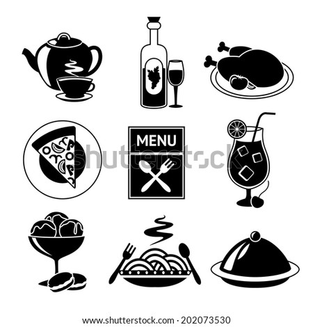 Restaurant food drink menu decorative black and white icons set isolated vector illustration.