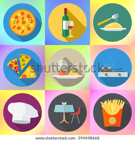 restaurant food flat vector set. pizza, wine, spaghetti, pasta, glass, dinner table and chair, french fries, chef hat, hot pan, smoothie and mashed potatoes. Collection of various catering pictograms  - stock vector