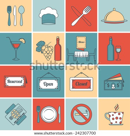 Restaurant food kitchen flat line icons set with open close signs isolated vector illustration - stock vector