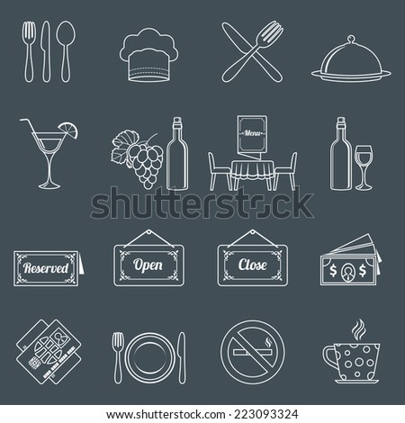Restaurant food kitchen outline icons set with chef hat wine bottle isolated vector illustration - stock vector