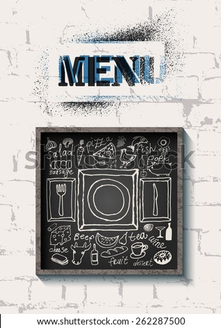 Restaurant food menu design on the brick wall background. Set of hand-drawn food on blackboard. Vector illustration. - stock vector
