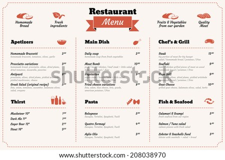 Restaurant food menu design template - stock vector
