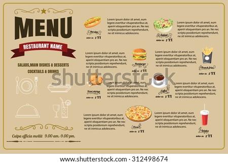 Restaurant Food Menu Design  vector format eps10 - stock vector