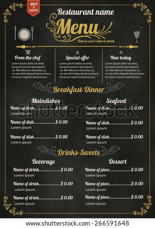 Restaurant Food Menu Design with Chalkboard Background - stock vector