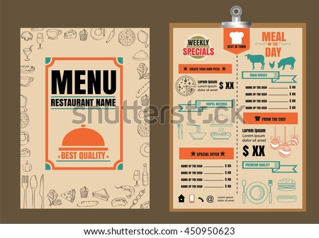 restaurant food menu design with chalkboard background - Restaurant Menu Design Ideas