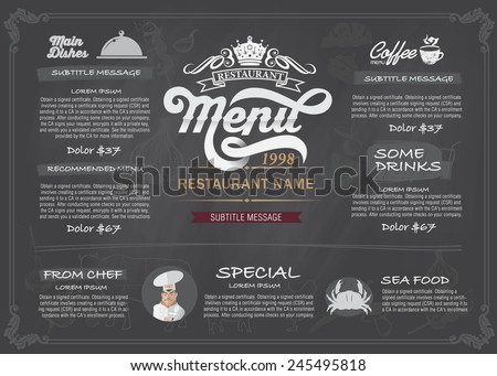 Restaurant Food Menu Design with Chalkboard Background Stock Vector Illustration  - stock vector
