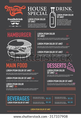 Restaurant Food Menu Design with Chalkboard Background Stock Vector Illustration - stock vector