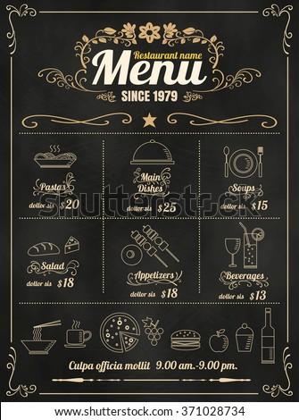 Restaurant Food Menu Design with Chalkboard Background vector format eps10 - stock vector