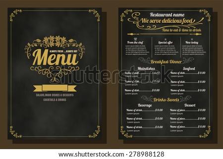 Restaurant Food Menu Vintage Design with Chalkboard Background vector format eps10 - stock vector