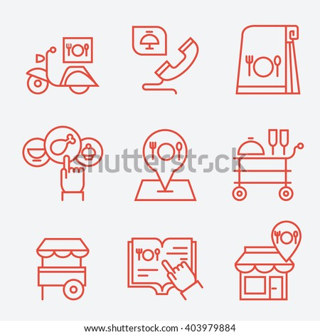 Restaurant food ordering on line icons, thin line style, flat design - stock vector
